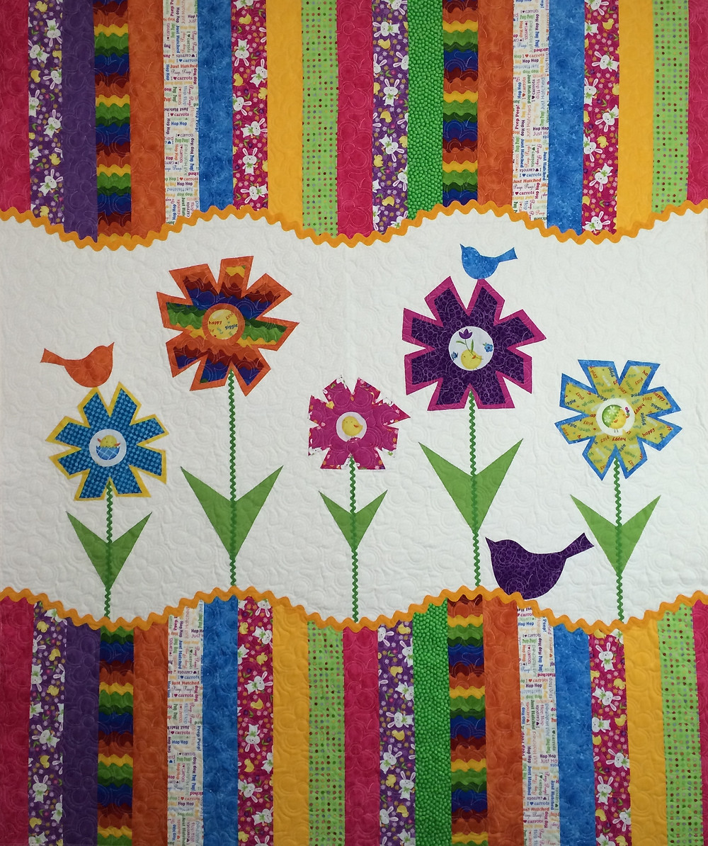 happy flower quilt with bunny print fabric