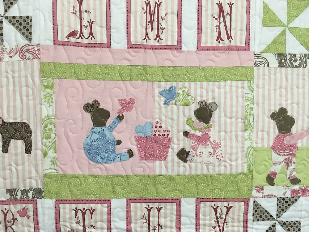 close up of Nancy ABC of Life with Mice Quilt