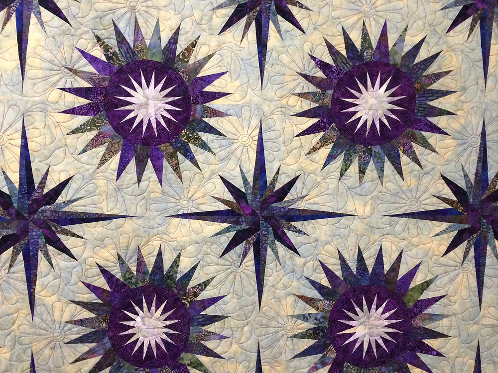 Flowers Quilting Pattern on Thistle Pods Quilt by Pam Okane