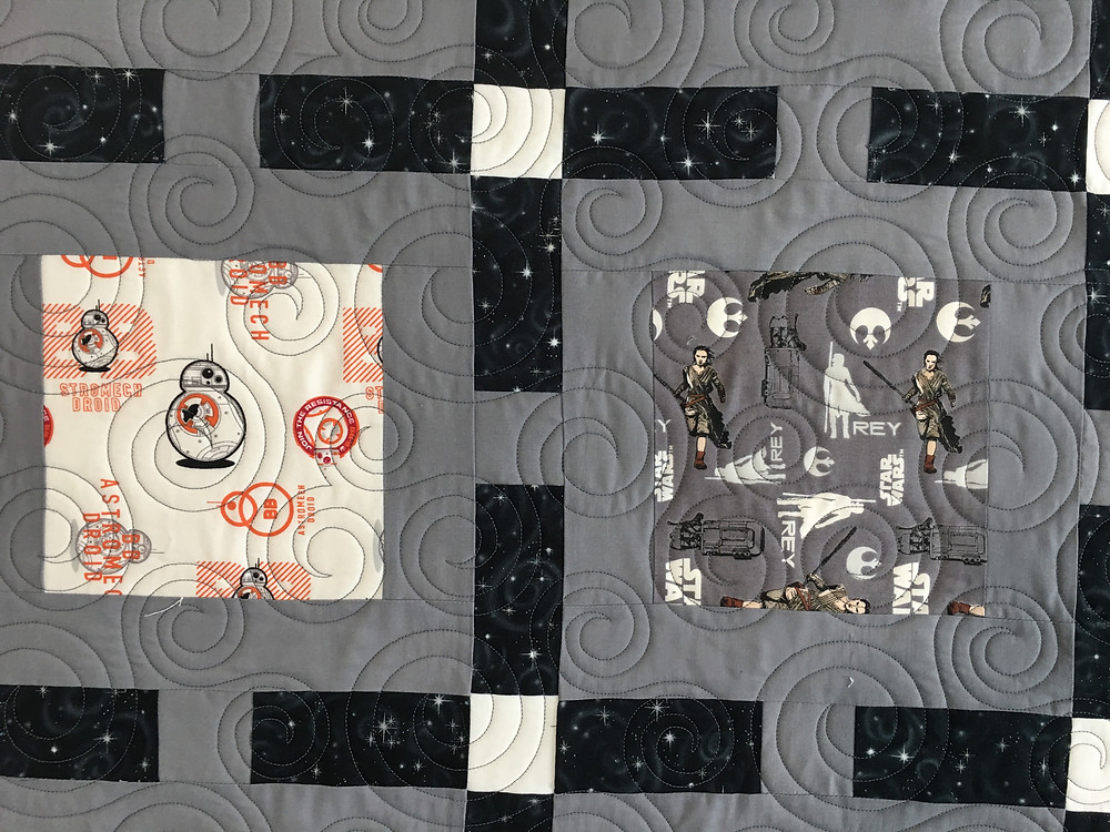Circles Quilting Pattern on Framed Star Wars Quilt by Janelle Morillo