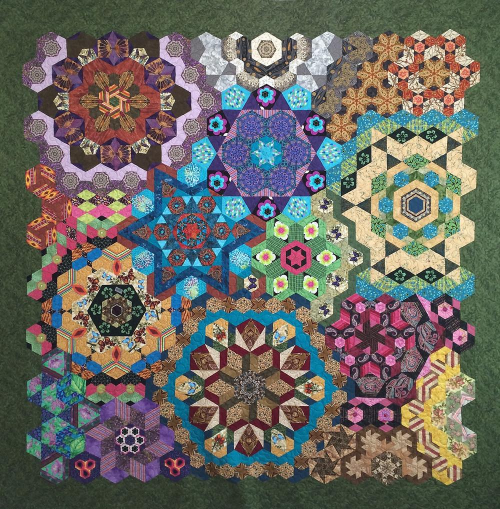 Anita Hand Pieced Hexagon Millefiori Quilt