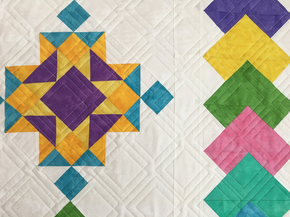 Close of up Geometric quilting pattern on New Age Block of the Month Quilt