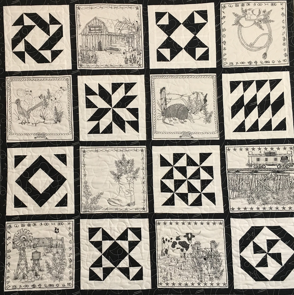 Black and White Texas Theme Quilt by Nancy Nesbaum