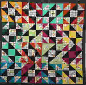 block quilt with bright colors