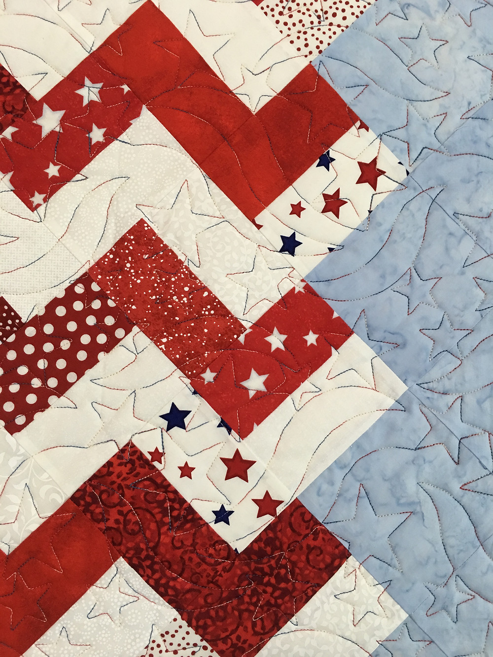 close up of Leanne Old Glory Quilt