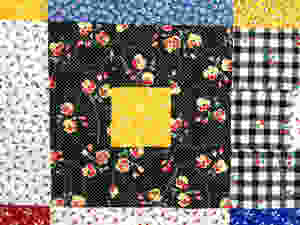 closeup of Deb Taylor's block in a block quilt