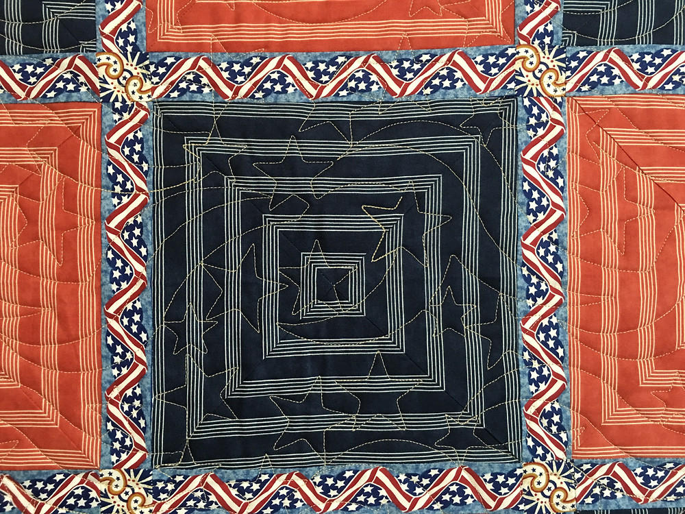 The blue Square to Penny's Americana Quilt