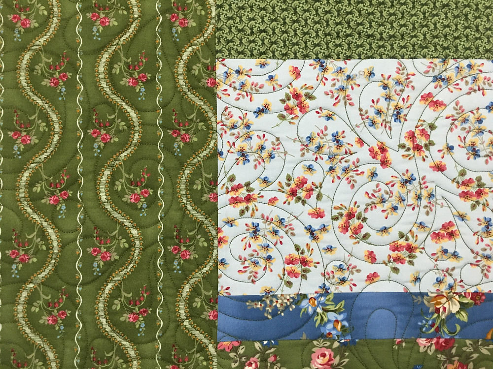 Swirls quilting pattern on Strips and Bars Quilt by Cindy Manning