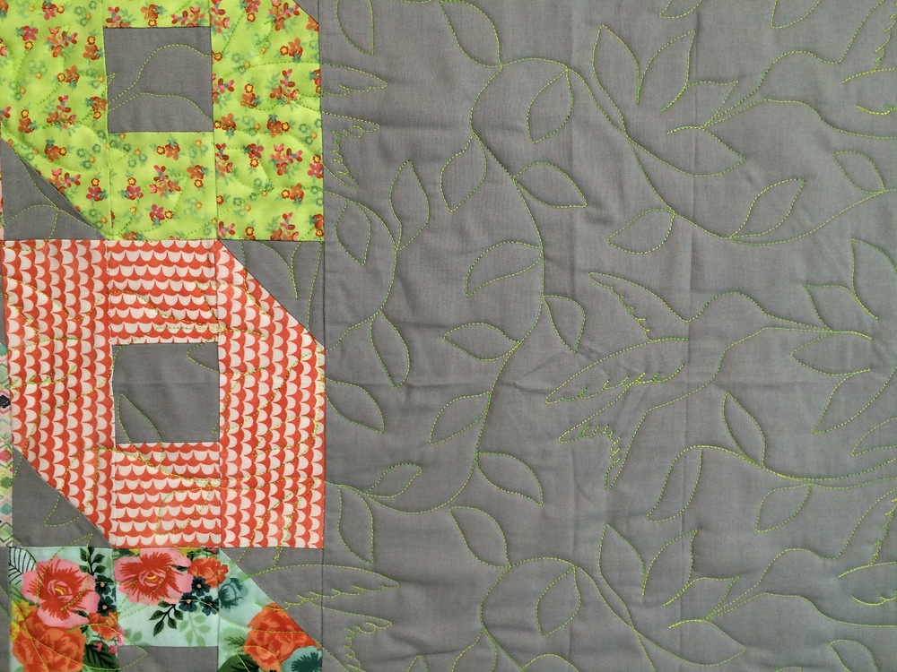 Close up of Jill Gray Rings block quilt