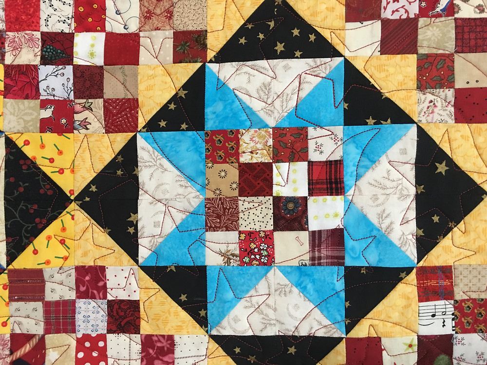 Another closeup of stars quilting pattern on Winston Ways quilt by Kathryn Bailey