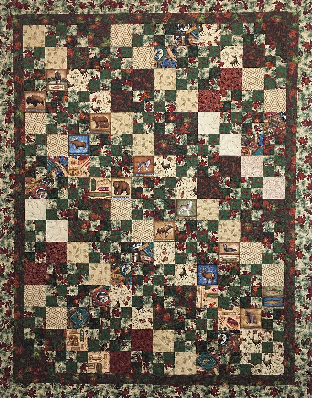 Leslie Wildlife Quilt with squares in a square