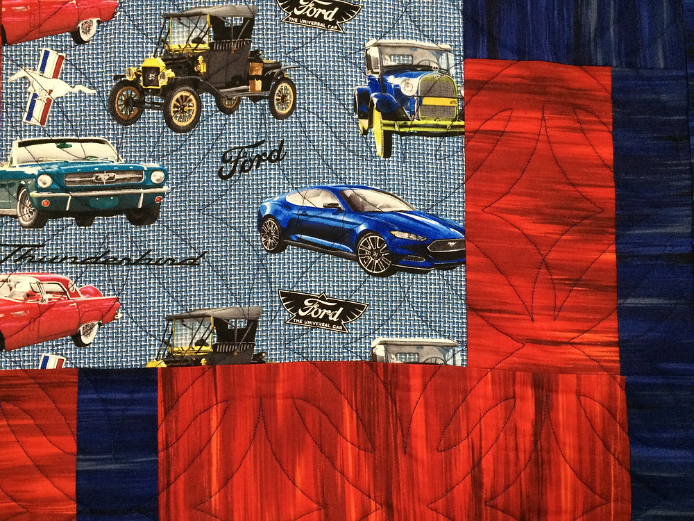 Closeup of Beth Robertson Ford Cars Quilt