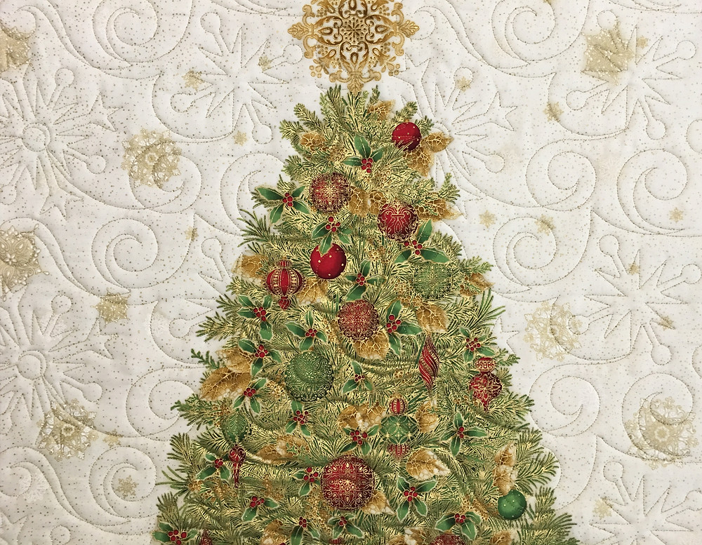 Quilting Pattern on Christmas Tree Wall Quilt by Sally Krebs