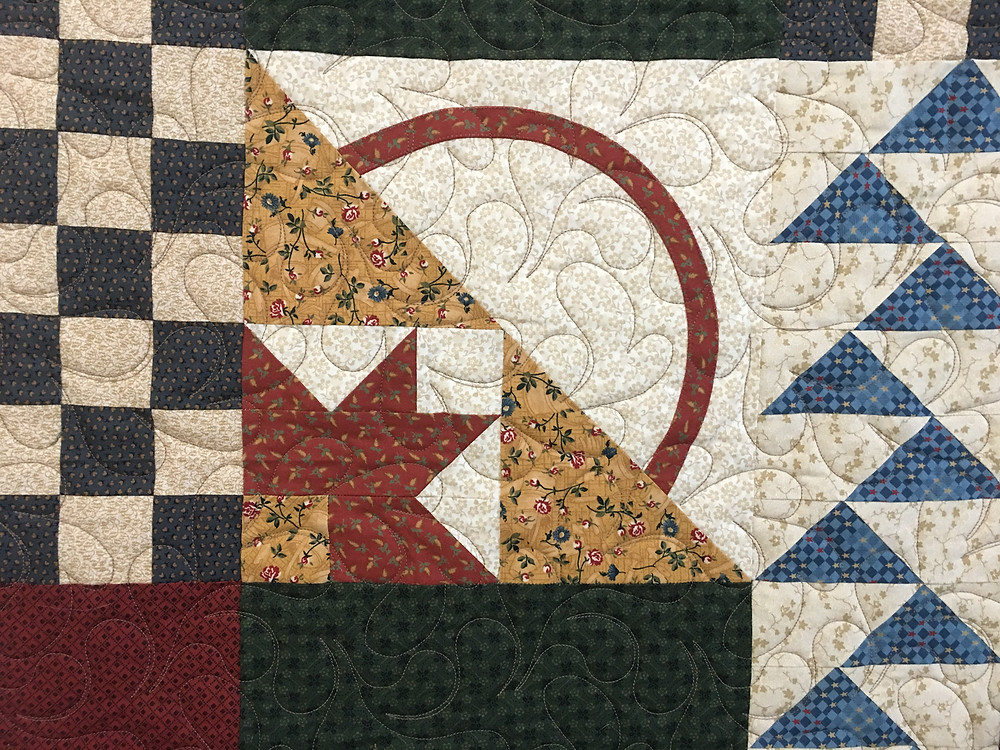 Feather Quilting Pattern on Thimbleberries Block of the Month Quilt by Sheila Stuckey