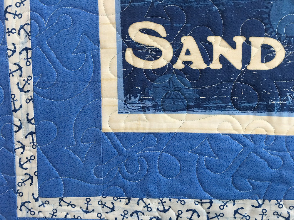 Anchors quilting design on Beach Theme Quilt by Beth Robertson