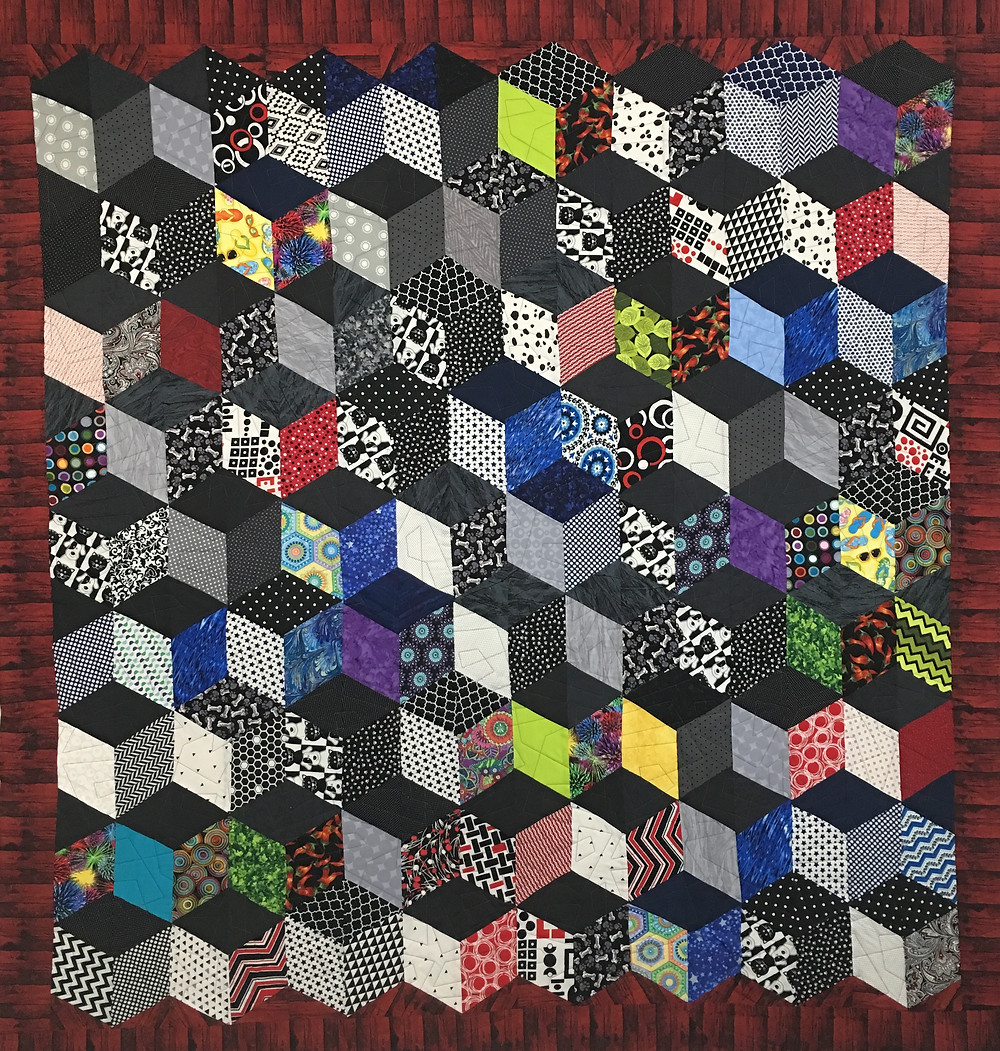 3D Squares Quilt by Sandy Benson