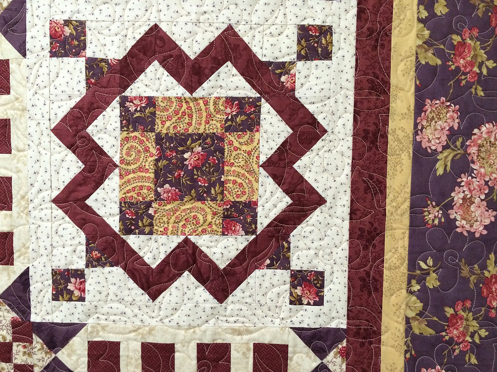 closeup of block in sampler quilt
