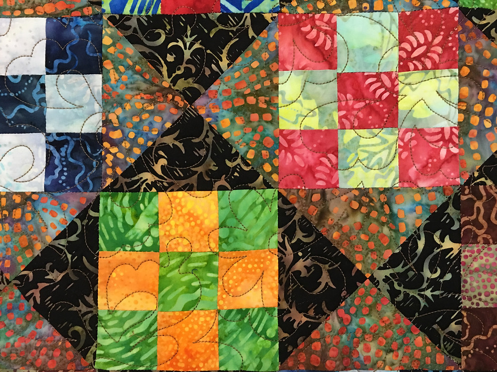 Animals Quilting Pattern on Nine Patch Play Quilt by Chris Olsen