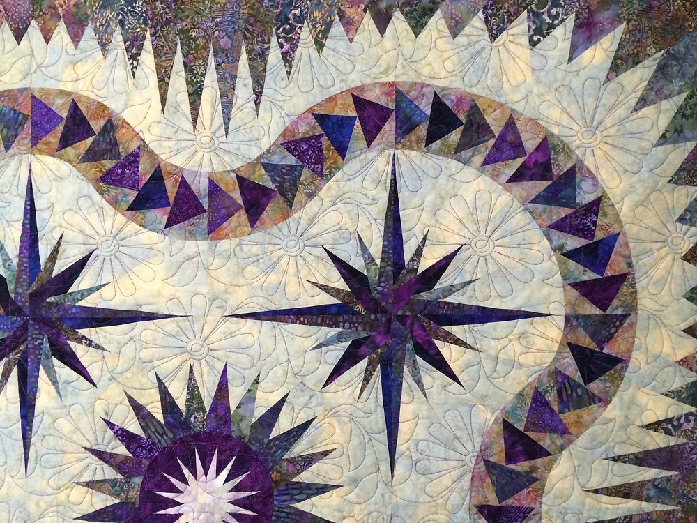 Another closeup of Flower Quilting Pattern on Thistle Pods Quilt