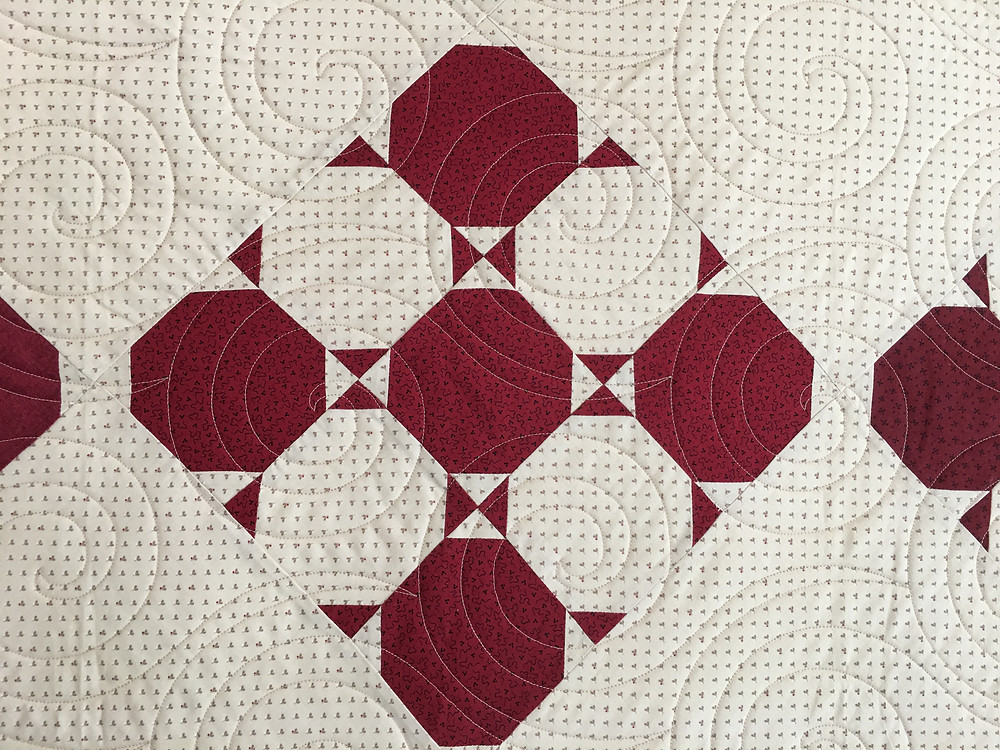 Circular Quilting pattern on Snow Bound Quilt by Joan Salesman