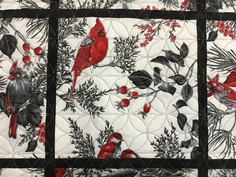 closeup of Cardinal Wall Hanging Quilt by Sally Krebs