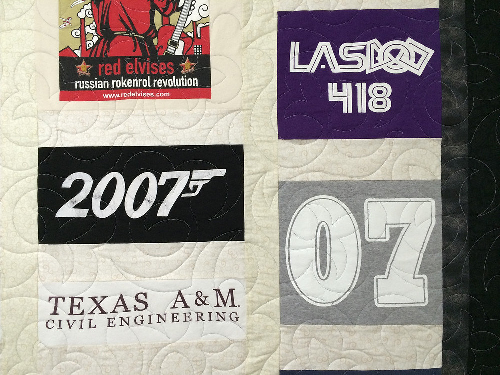closeup of t-shirt quilt with Texas A&M civil engineering