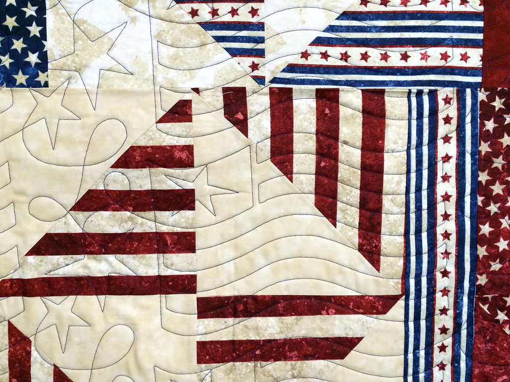 Close up of Beth Robertson Patriotic Quilt