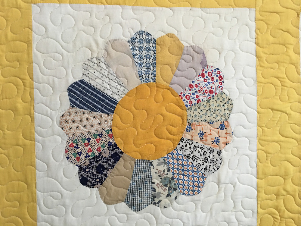 closeup of Andi Hay's Dreaden Plate quilt