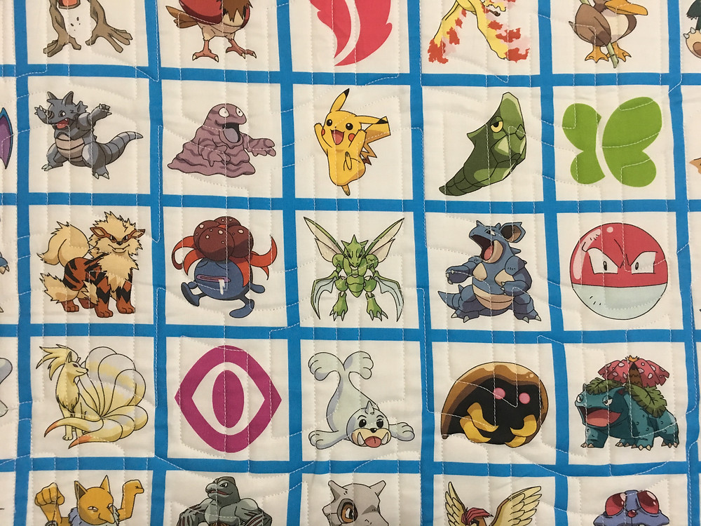Geometric Quilting pattern on Pokemon Quilt by Kimberly Jolly
