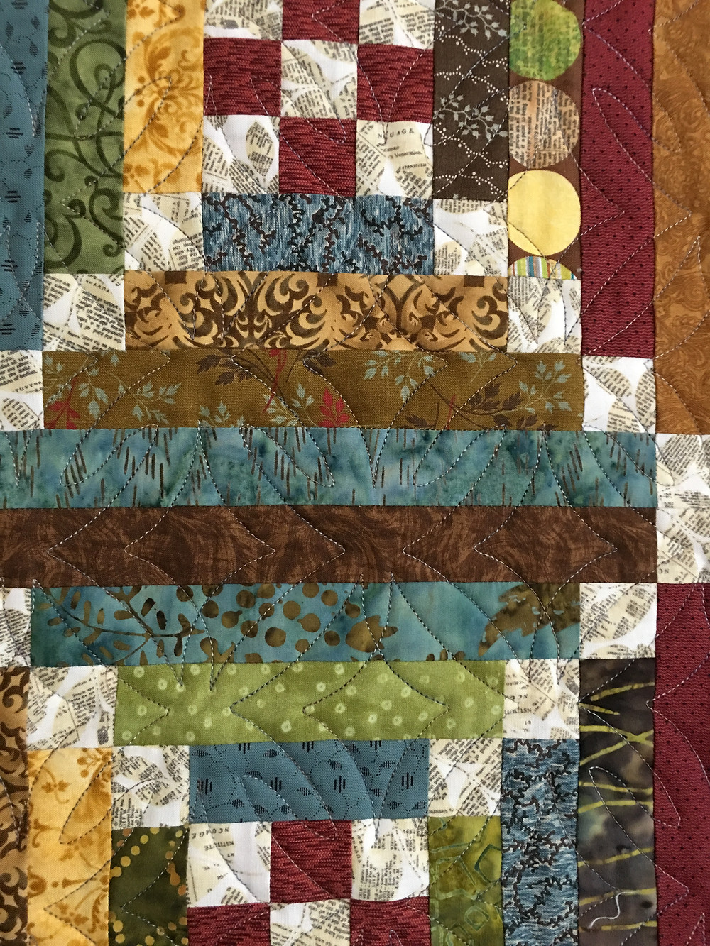 closeup of the quilting of the geometric quilting desing