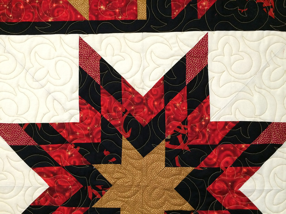 Swirls Quiltng Pattern on Block of the Month Quilt by Jackie Williams