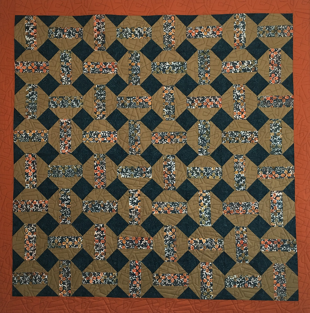Teal Batik quilt by Jill Seward