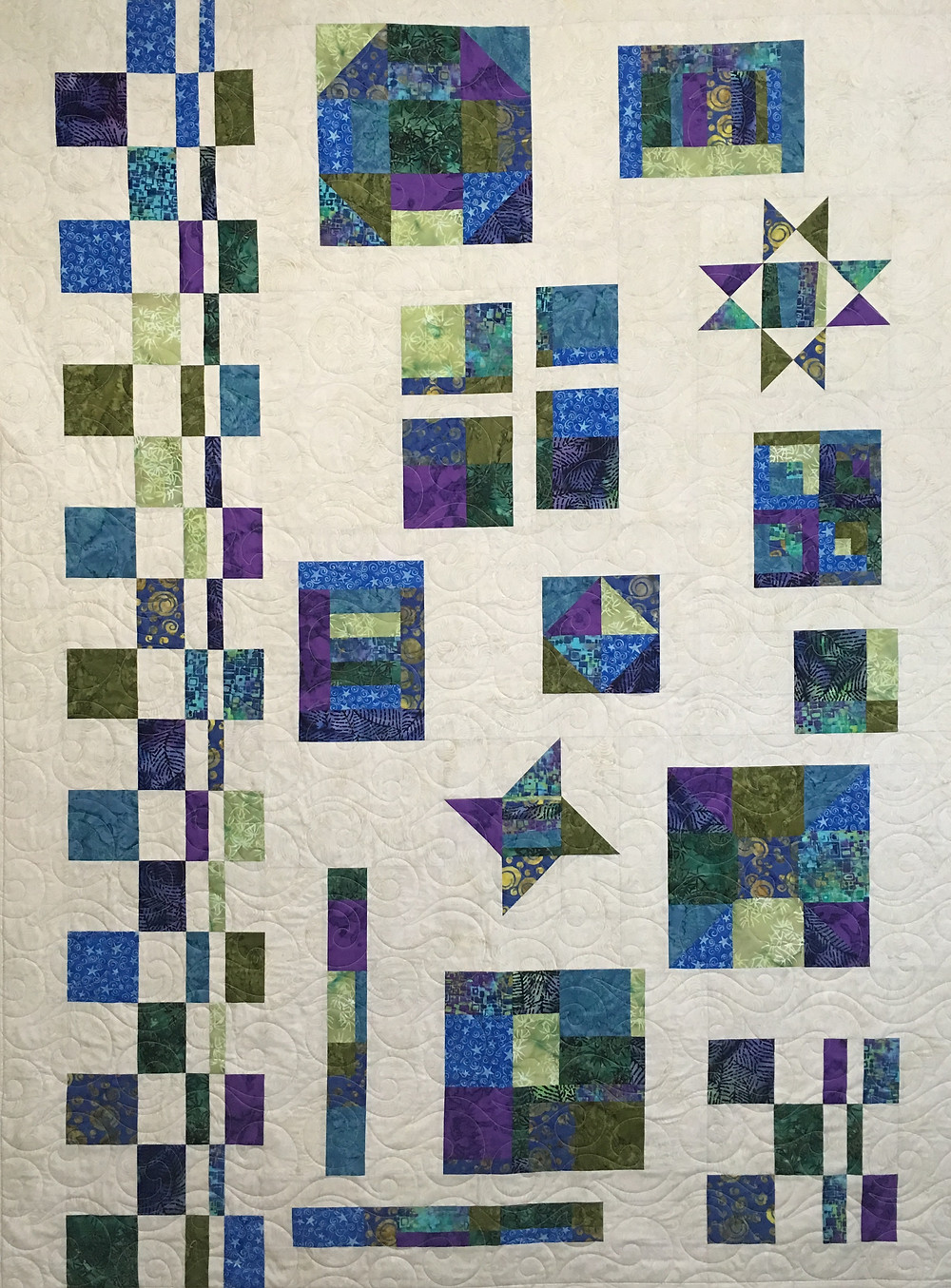 Lynne Gypsy Sampler Quilt in shades of blues and purples