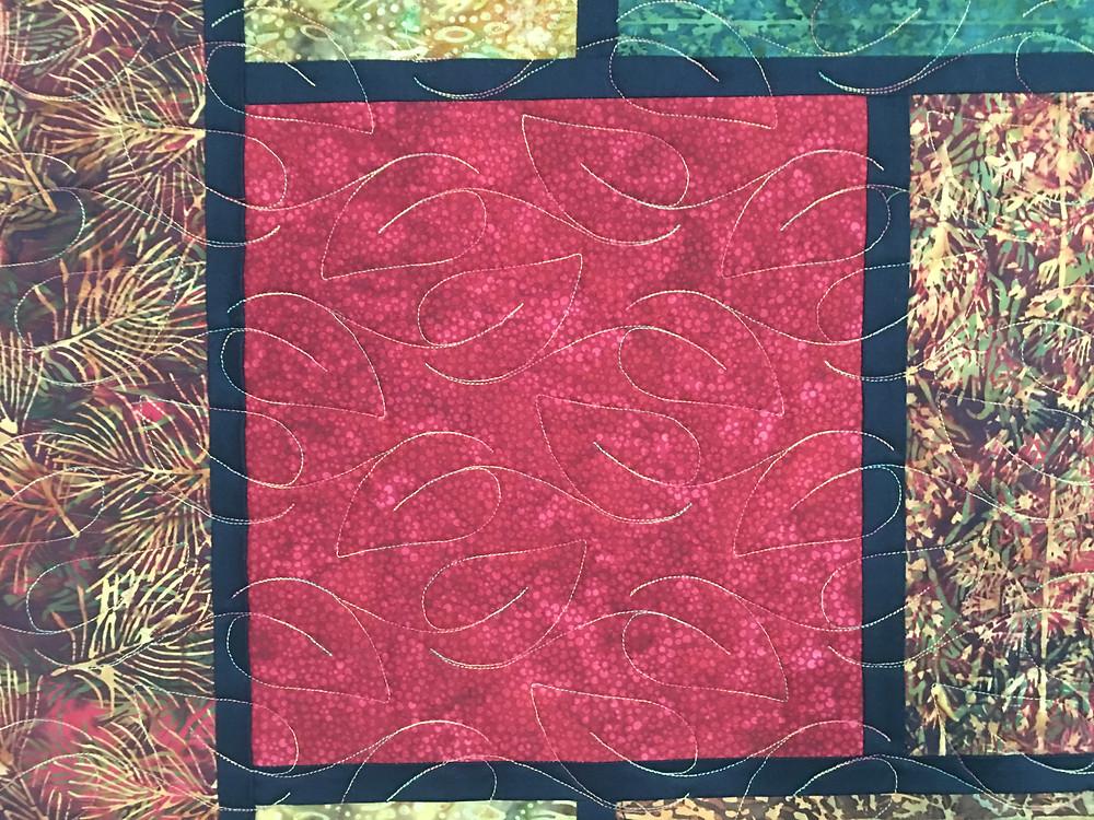 Closeup of Laura Wetzel Random Squares Quilt