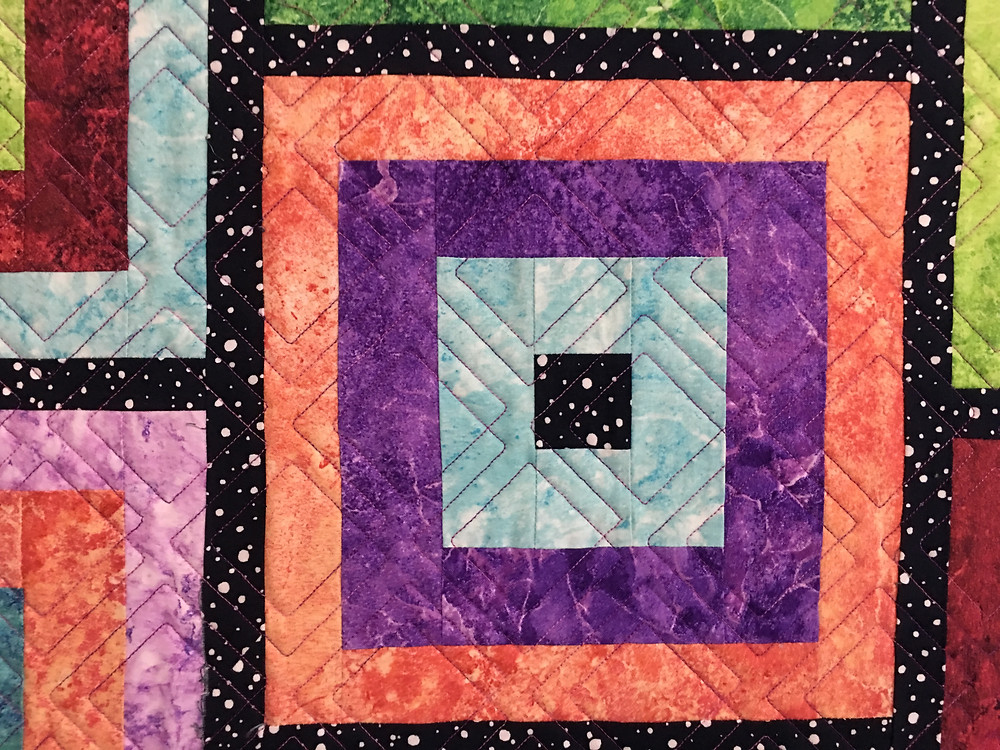 Closeup of Geometric Quilting Pattern on Log Cabin in Bright by Laura Wetzel