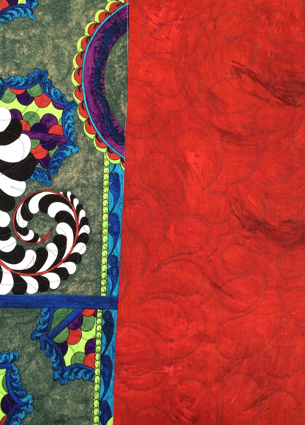 Closeup of Beth Robertson Multi Color Quilt