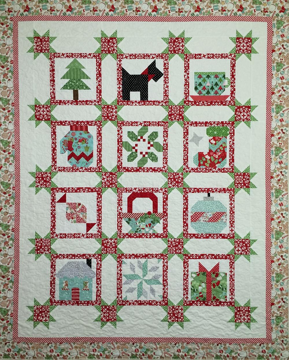 Deb Christmas Quilt with an english scottish dog