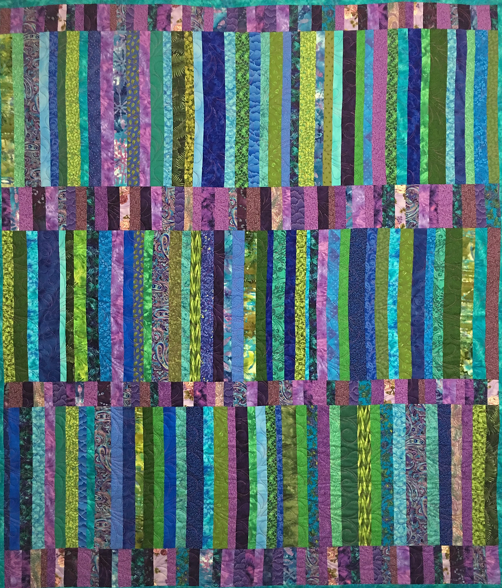 Jewel Tones Jelly Rolly Quilt by Valarie Sherriff