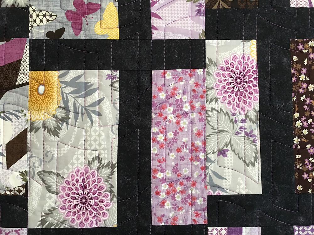 Close up of Quilting pattern on Cindy T Intersection Quilt