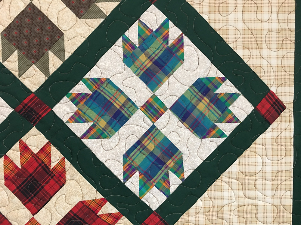 Meander quilting pattern on Plaid Paws Quilt by Roxane Darnell