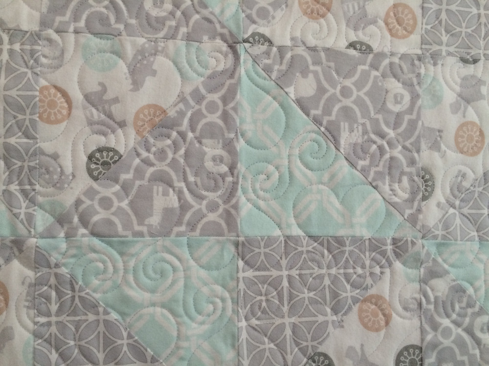 Closeup of Julianna Bolen Baby Quilt in Flannel