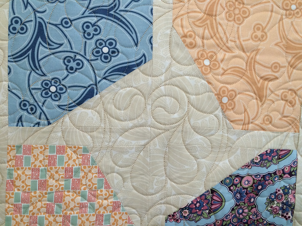 Close up of Beth Robertson Downtown Abby Quilt