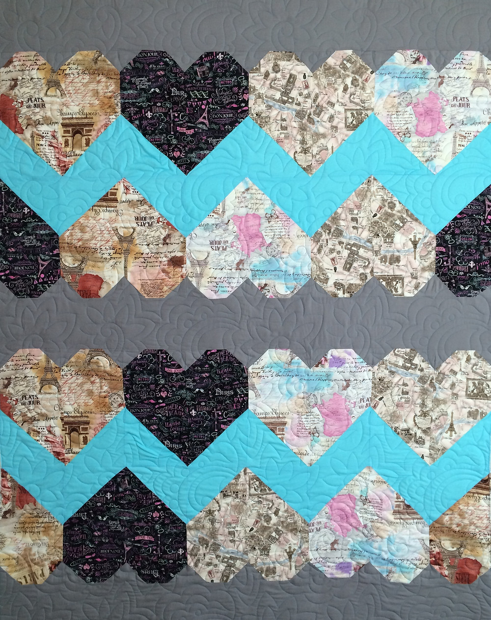 Jennifer Zig Zag Paris Theme Heart Quilt