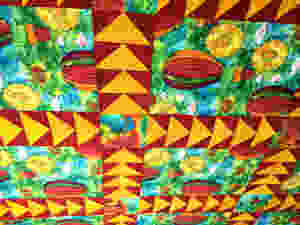 angle picture of flying geese on balloon quilt