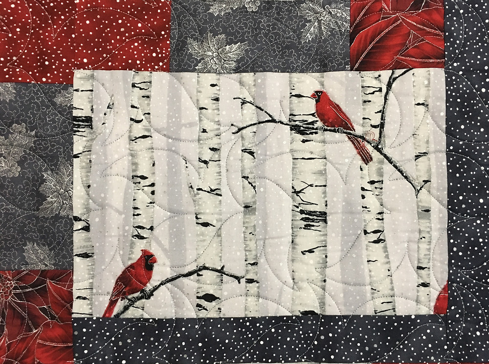 Leaves Quilting Pattern on Cardinals Quilt by Jennifer Adams