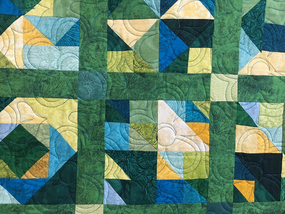 Flower Quilting Pattern on My Own Design Quilt by Susan Justice