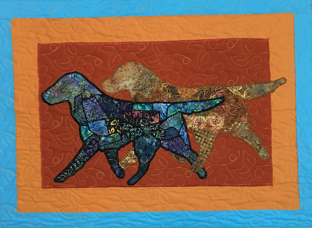 Flatcost Retrievers in Batiks quilt by Jennifer Adams