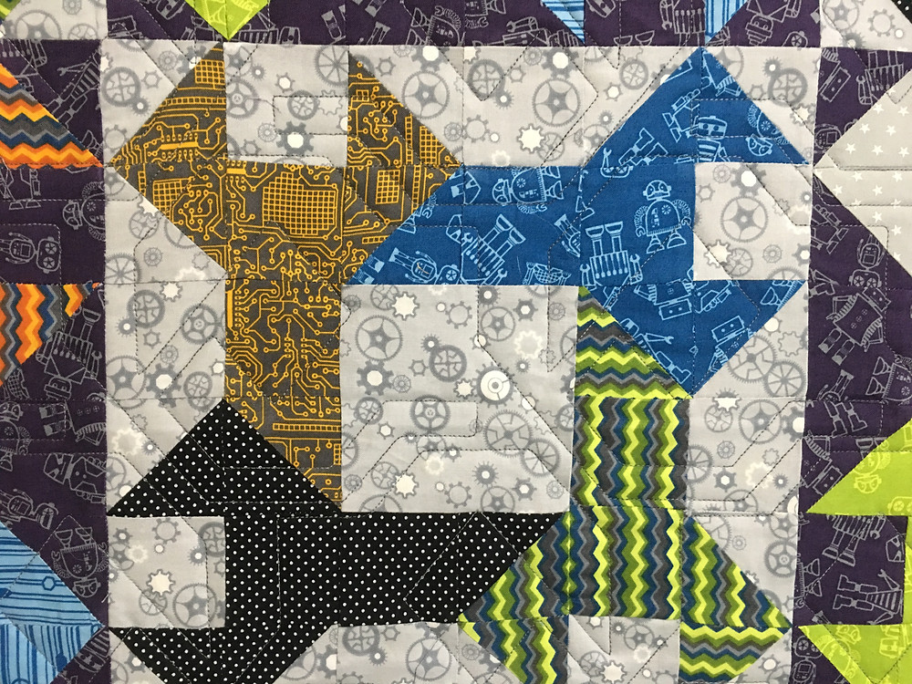 Geometric Quilting Pattern on Tool Time for Dann Quilt by Cynthia Parra Quilt
