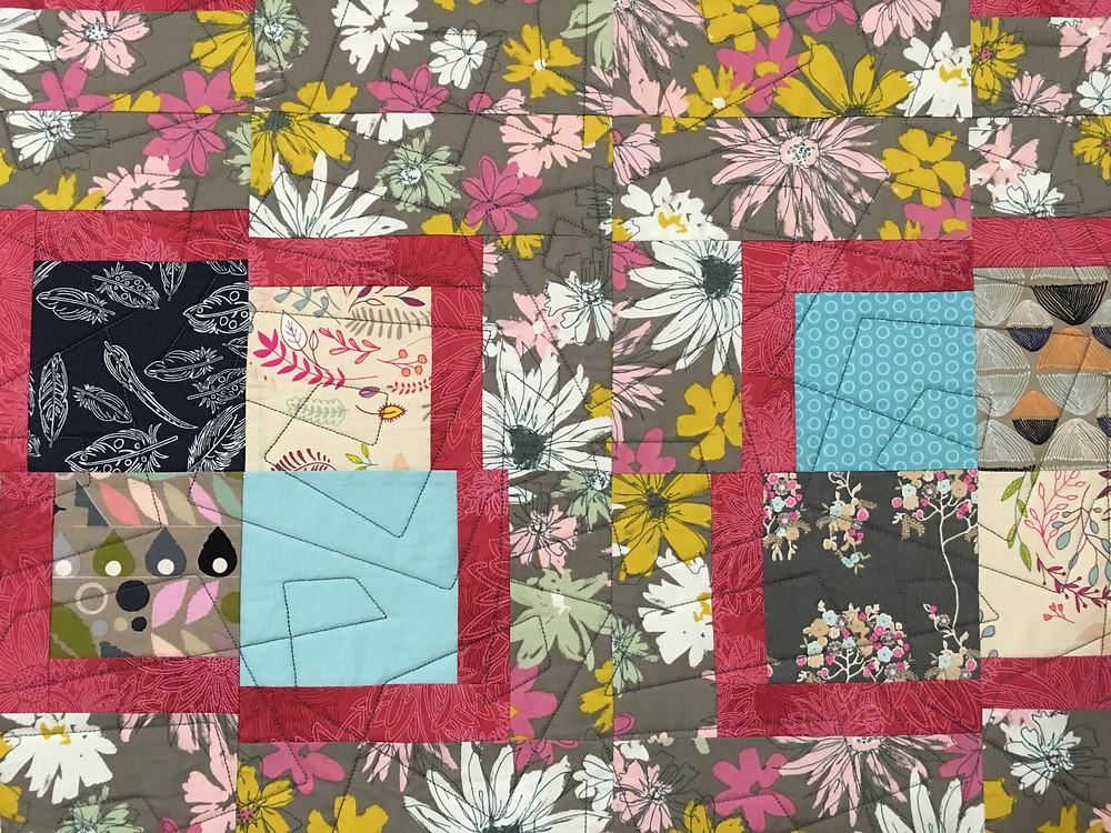 Closeup of Jill Seward Wacky Squares Quilt