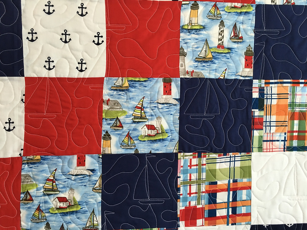 boats quilting pattern on beach theme quilt by Anna King